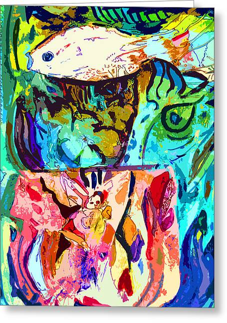 Fish Soup Greeting Card by Mindy Newman