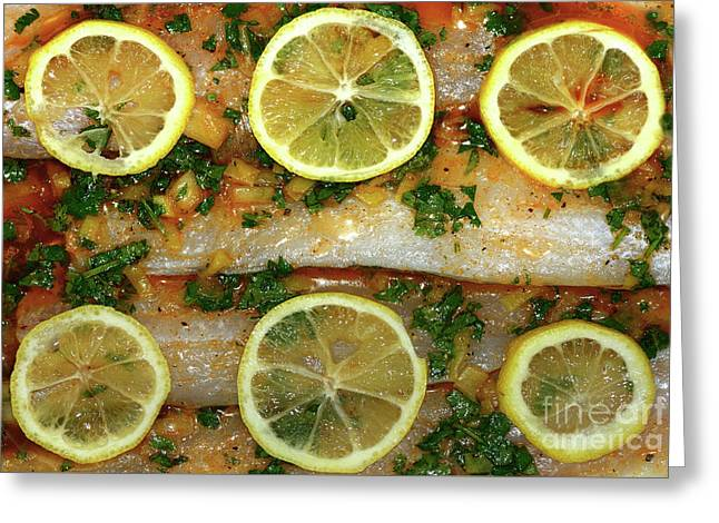 Fish With Lemon And Coriander By Kaye Menner Greeting Card