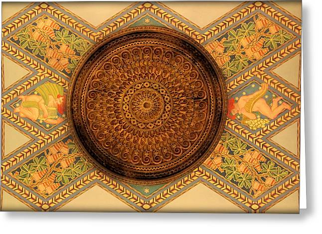 Fisher Building's Hand Painted Ceiling And Medalion  Greeting Card by Anita Hiltz