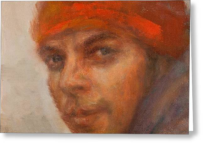 Dreamer Impressionist Painting Portrait Greeting Card by Quin Sweetman