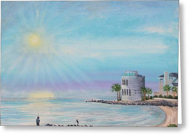 Fisher Man At Breach Inlet Greeting Card