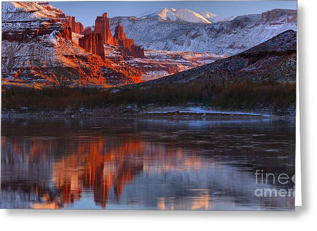 Greeting Card featuring the photograph Fisher Towers And La Sal Mountains by Adam Jewell