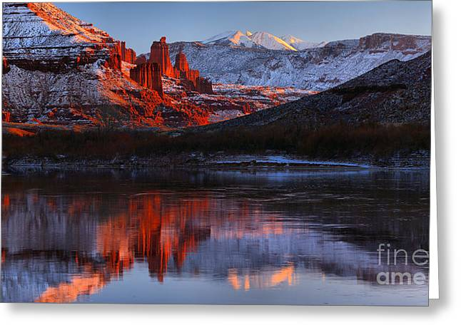 Fisher Towers Colorado River Reflections Panorama Greeting Card