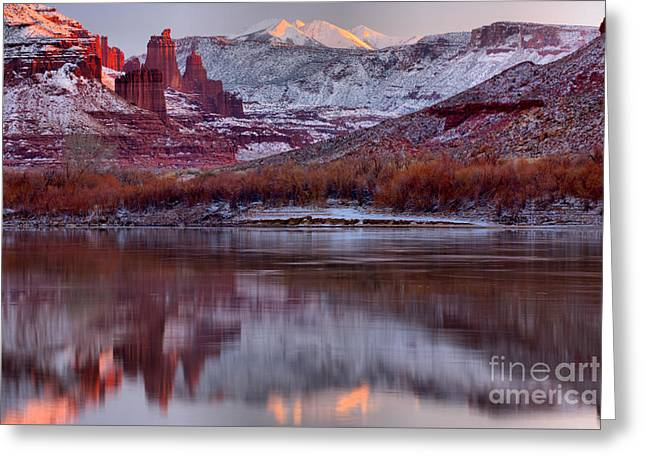 Fisher Towers Fading Sunset Greeting Card by Adam Jewell