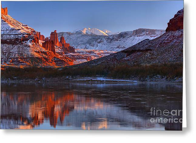 Greeting Card featuring the photograph Fisher Towers Glowing Reflections by Adam Jewell