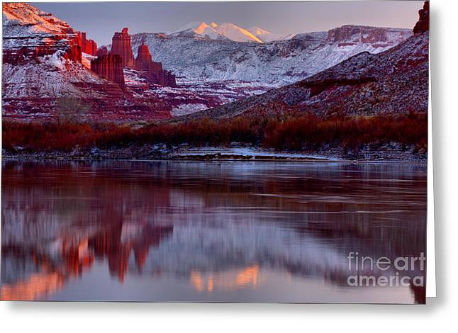 Fisher Towers Landscape Glow Greeting Card by Adam Jewell