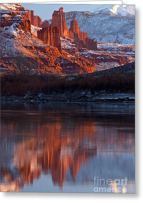 Fisher Towers Reflections In The Colorado Greeting Card
