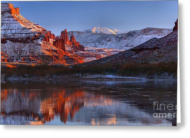 Fisher Towers Sunset Glow Panorama Greeting Card by Adam Jewell