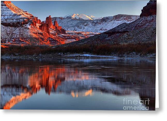 Fisher Towers Sunset On The Colorado Greeting Card by Adam Jewell