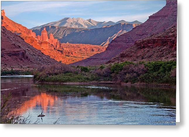 Fisher Towers Sunset Reflection Greeting Card