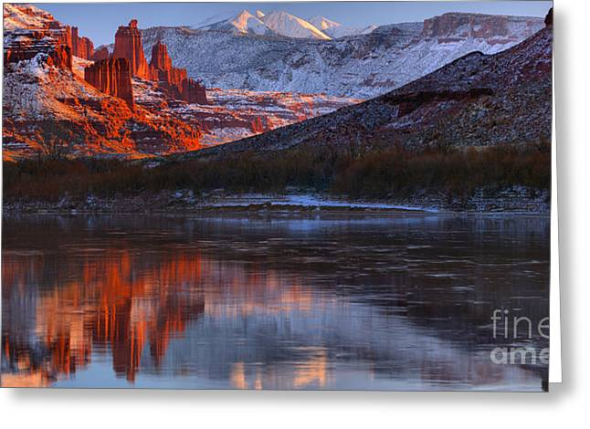 Fisher Towers Sunset Reflection Panorama Greeting Card by Adam Jewell