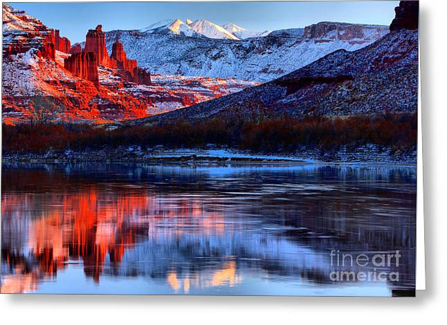 Fisher Towers Sunset Winter Landscape Greeting Card by Adam Jewell