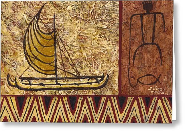 Fisherman And Canoe Greeting Card by Darice Machel McGuire