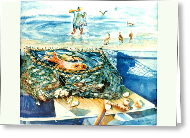 Fisherman And His Assistants Greeting Card by Estela Robles