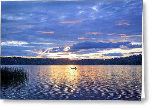 Fisherman Heading Home Greeting Card