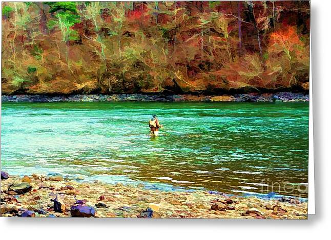 Greeting Card featuring the photograph Fisherman Hot Springs Ar In Oil by Diana Mary Sharpton