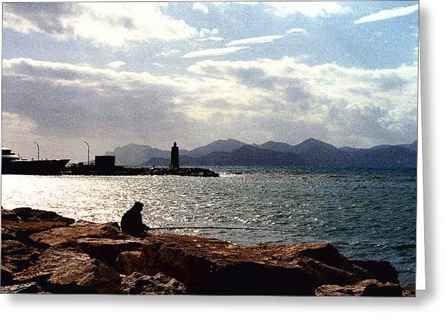 Fisherman In Nice France Greeting Card by Nancy Mueller
