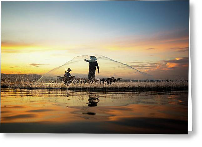 Fisherman In Thailand Greeting Card