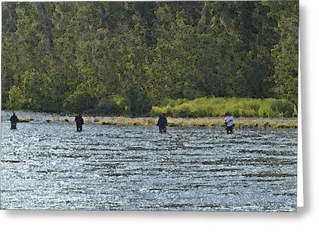 Fisherman Lineup Kenai River Greeting Card by Mary Gaines