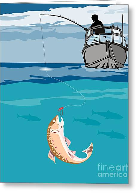 Fisherman On Boat Trout  Greeting Card by Aloysius Patrimonio