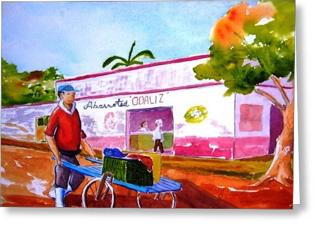 Fisherman With Bike Cart Greeting Card by Buster Dight