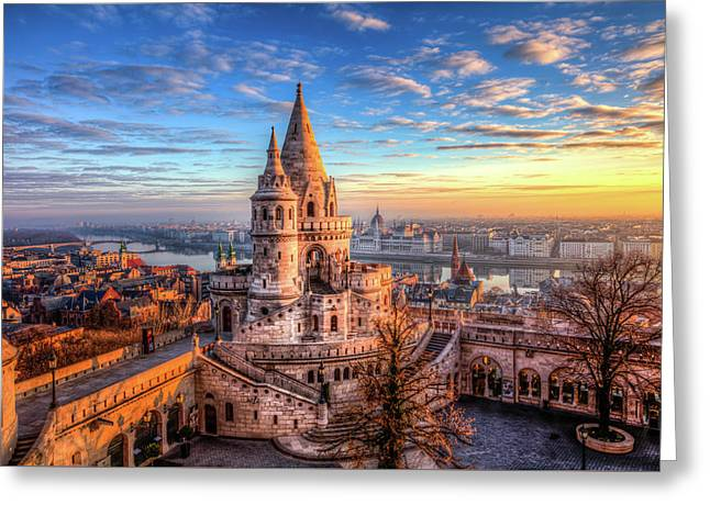 Greeting Card featuring the photograph Fisherman's Bastion In Budapest by Shawn Everhart