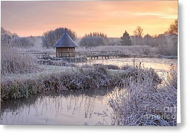 Fishermans Hut Winter Morning Greeting Card by Richard Thomas
