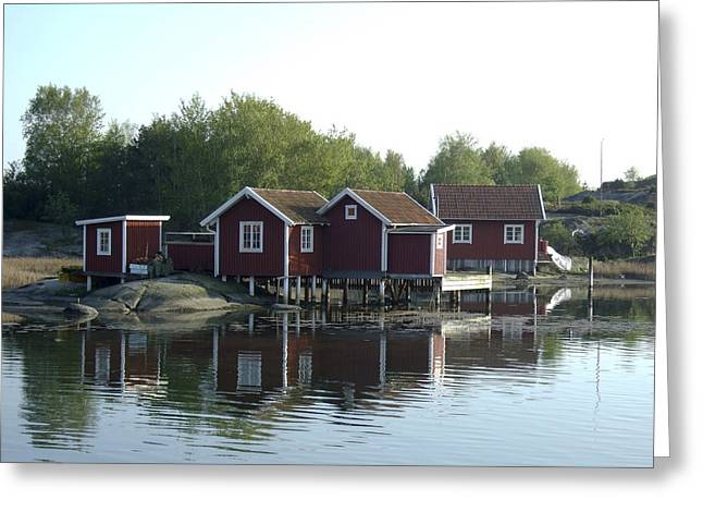 Fisherman's Huts Greeting Card by Dan Andersson
