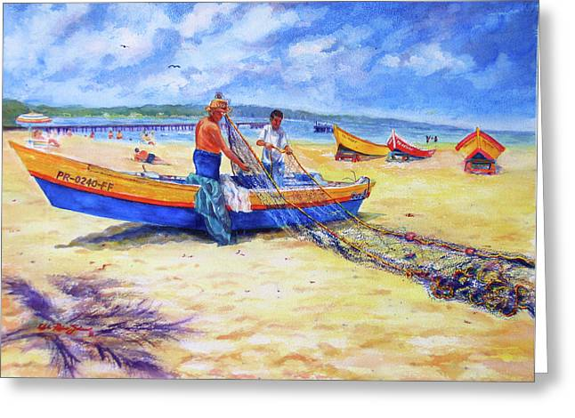 Fishermans Legacy Greeting Card by Estela Robles