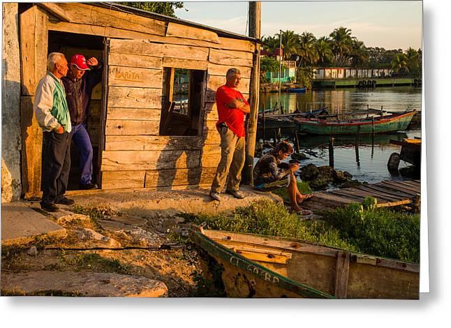 Fishermen At Dawn Greeting Card by Tina Manley