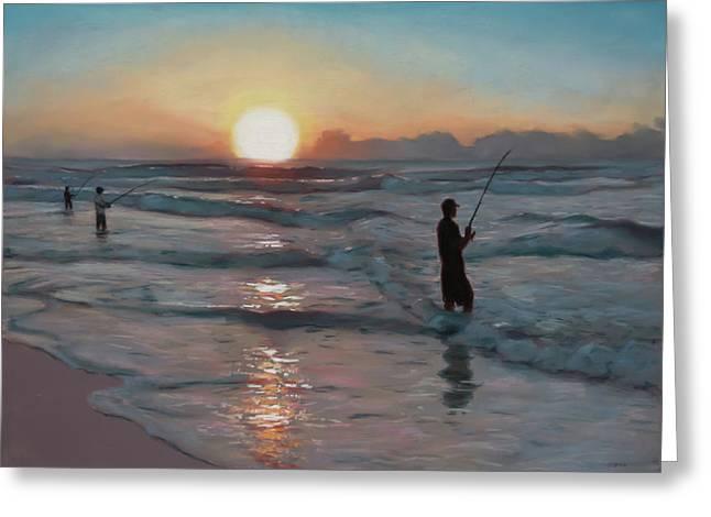 Fishermen At Sunrise Greeting Card