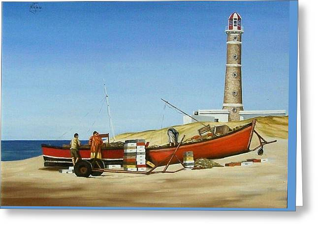 Fishermen By Lighthouse Greeting Card by Natalia Tejera