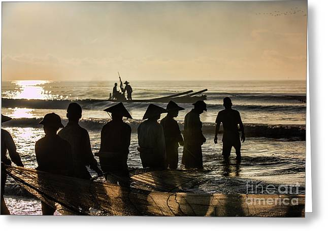 Fishermen End Of Day Vietnam II Greeting Card by Chuck Kuhn