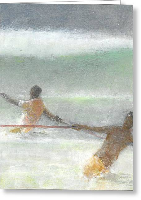 Fishermen Hauling Nets Greeting Card by Lincoln Seligman