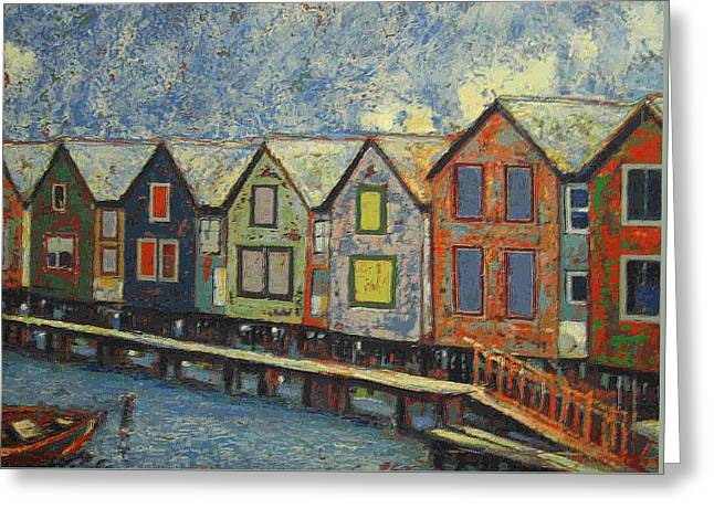 Greeting Card featuring the painting Fishermen Huts by Walter Casaravilla