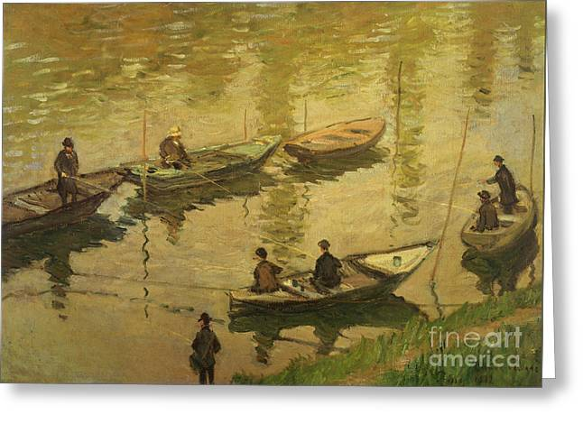 Fishermen On Seine Greeting Card by Claude Monet