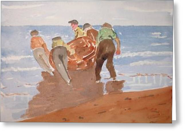 Fishermen Greeting Card by Roger Cummiskey