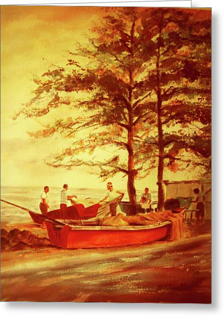 Fishermens Sunset Greeting Card by Estela Robles