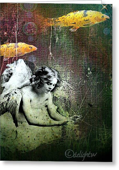 Greeting Card featuring the digital art Fishes Wings by Delight Worthyn