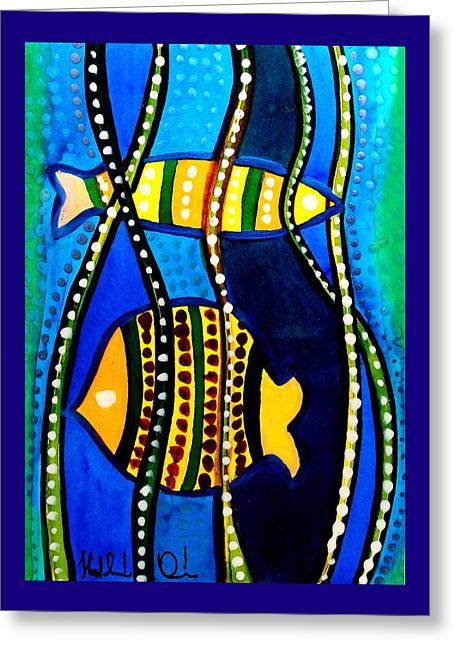 Greeting Card featuring the painting Fishes With Seaweed - Art By Dora Hathazi Mendes by Dora Hathazi Mendes
