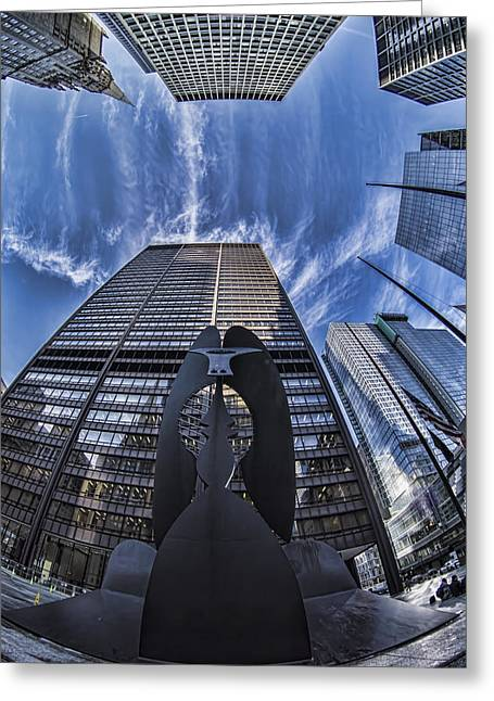 Fisheye View Of Chicago's Picasso Greeting Card by Sven Brogren