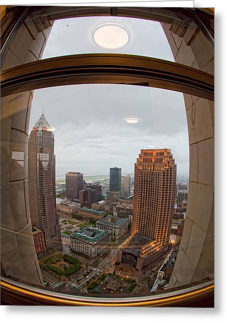Fisheye View Of Cleveland From Terminal Tower Observation Deck Greeting Card by Kathleen Nelson