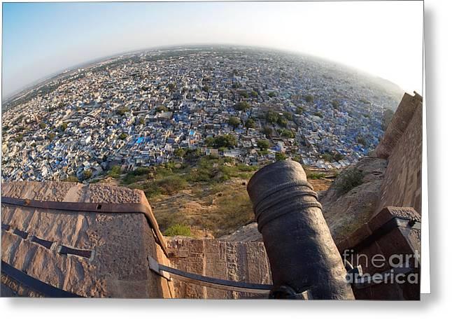Greeting Card featuring the photograph Fisheye View Of Jodhpur by Yew Kwang