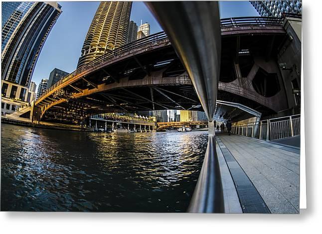 Fisheye View From The Chicago Riverwalk Greeting Card