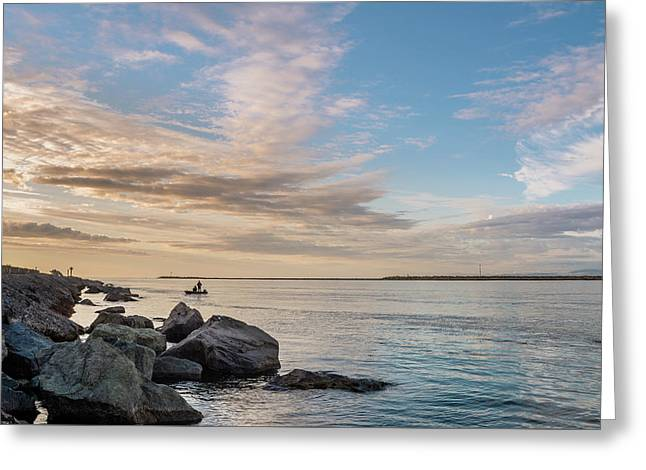 Fishing Along The South Jetty Greeting Card by Greg Nyquist