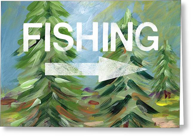 Fishing- Art By Linda Woods Greeting Card