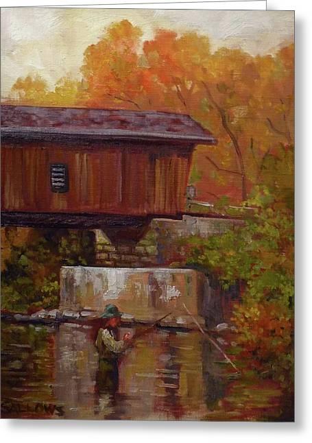 Fishing At Creek Road Bridge Greeting Card by Nora Sallows