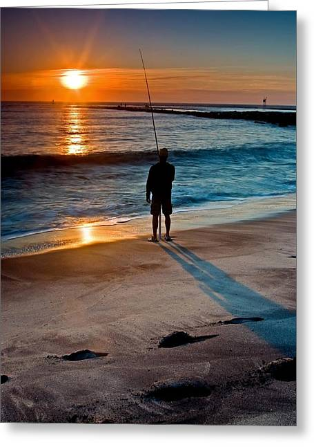 Fishing At Dawn On The Indian River Inlet Greeting Card