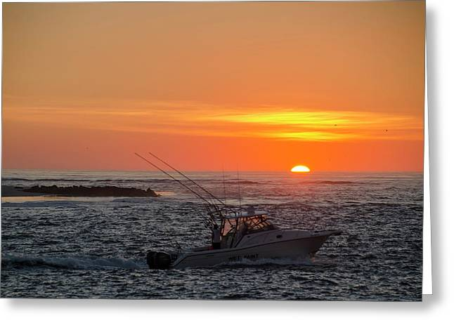Fishing At Sunrise - Townsends Inlet Greeting Card by Bill Cannon