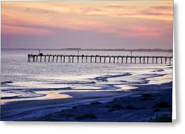 Fishing At Sunset Greeting Card by Alan Hausenflock